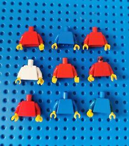 Lego-9x-Figur-Torso-Oberkoerper-Haende-Jacke-blank-973-rot-weiss-blau-80