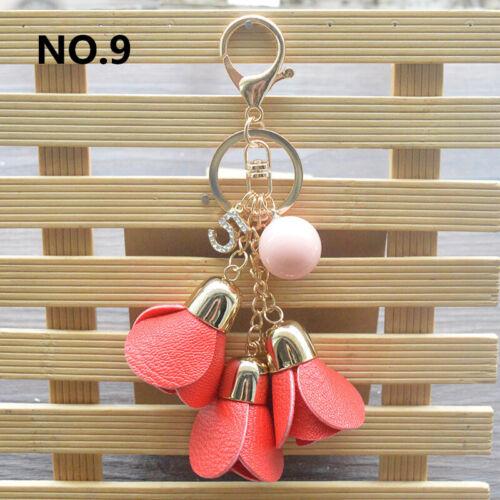 New Women Rose Flower Keychain PU Leather Key Ring Car Bag Pendant Cute Gift