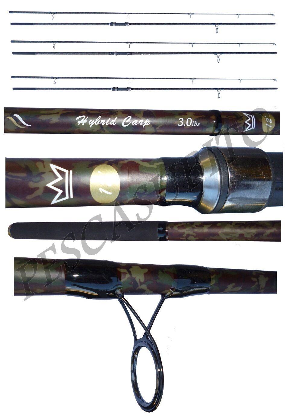 Kit 3 canne carpfishing hybrid 2.75lb mimetica pesca camo carpa fondo carbonio
