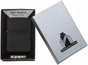 Zippo-1941-Replica-Black-Crackle-Lighter-Benzin-Sturm-Feuerzeug