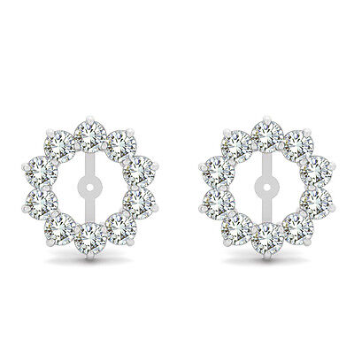 2 Carat G-H SI2 Round Diamond Solitaire Stud Earring Jackets Halo 14K White Gold