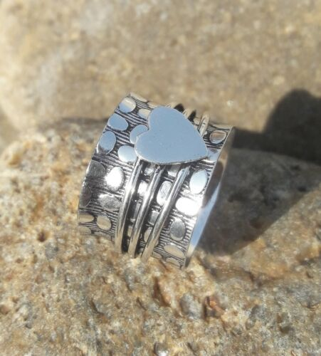 Solide Argent Sterling 925 spinner ring méditation Statement Anneau Taille tous les sr0006