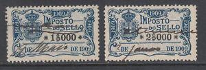 Portugal-Gerais-Barata-613-614-used-1909-General-fiscals-2-different-sound