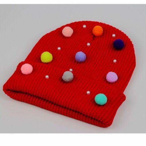 Women Winter Hat Mini Pom Pom Pearls Candy Colors Beanie Knit Warm Girls Cap New