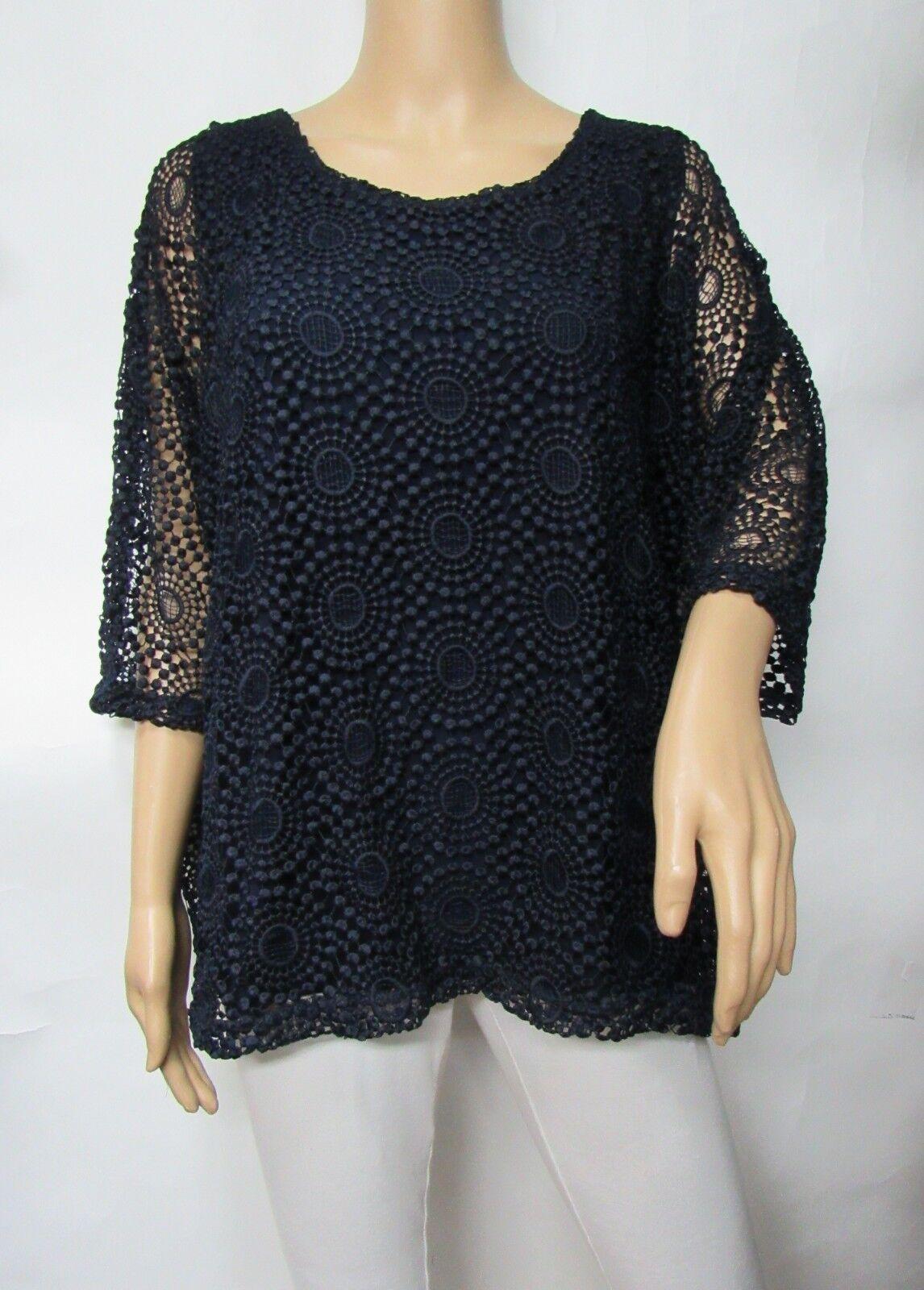 Deep bluee Elbow Sleeve Crochet Lace Overlay Top Size 2