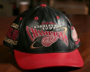 Detroit-Red-Wings-Stanley-Cup-Champions-Leather-Hat-1997-NHL-Hockey