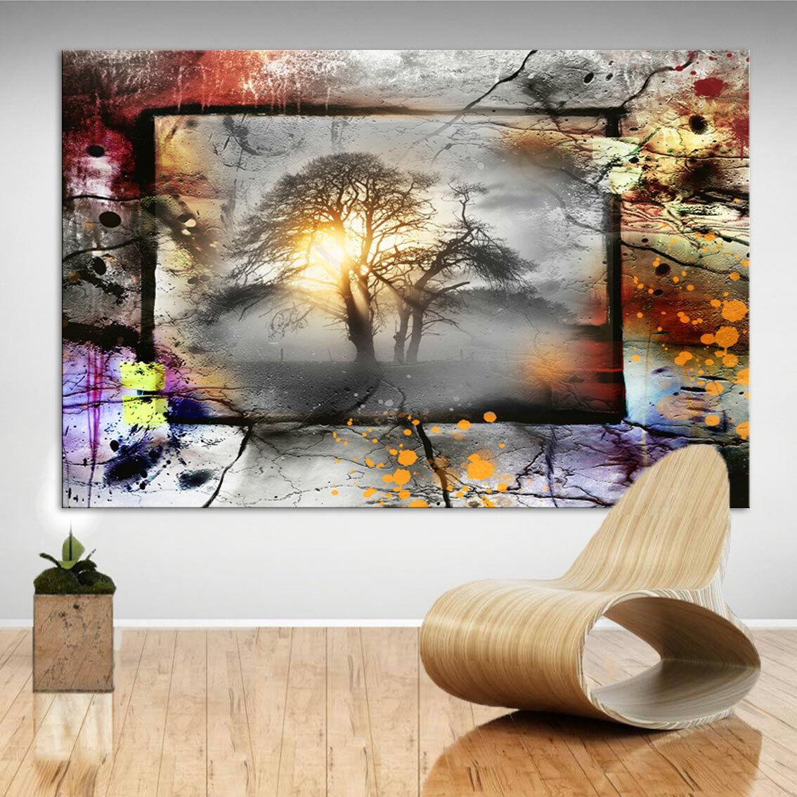 Abstraktes Bild Bäume Sonne Landschaft Leinwand Kunst Bilder Wandbilder D0818