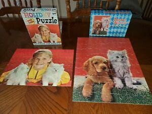 2 Vintage Jigsaw Puzzles White Kittens Cat Cocker Spainel Dog Fairchild ArtCraft