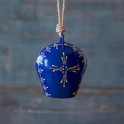 Fair Trade Handmade Handpainted Cow Bell - Blue