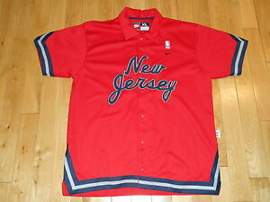 official photos 71f35 f5141 Details about NIKE REWIND RED 1977 NEW JERSEY NETS RETRO NBA TEAM BUTTON  WARM UP JACKET Sz XL