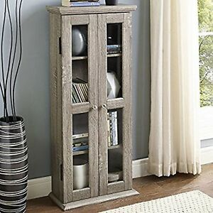 Image Is Loading Media Storage Cabinet With Doors Wood Glass CD