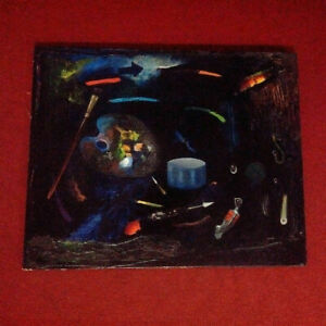 Grand-tableau-nature-morte-a-la-palette-de-peintre-1960-huile-sur-toile-HST