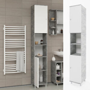 Vicco badschrank fynn wei grau beton badezimmerschrank hochschrank badregal ebay - Badezimmerschrank grau ...