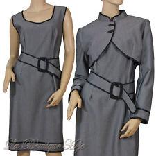 Elegantes Träger Kleid mit Bolero und Gürtel in Grau, Bolero mit Stehkragen