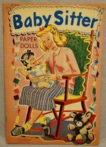 1940s-BABY-SITTER-Paper-Doll-Book-LOWE-937-MINT-UNCUT-ORIGINAL