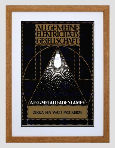 COMMERCIAL ADVERT GERMANY ELECTRICITY LIGHT BULB LAMP FRAMED ART PRINT B12X4176