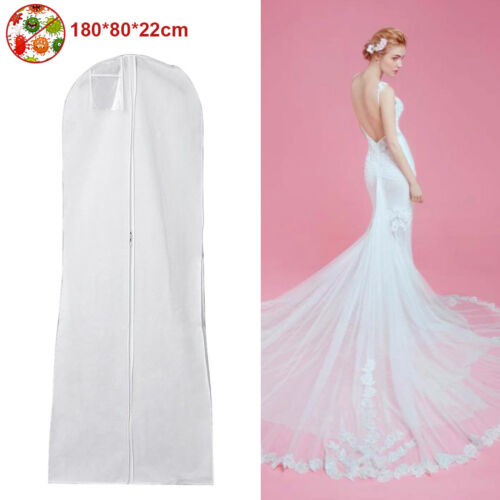 1-4pcs White Breathable Wedding Gown Dress Garment Cover Zip Suit Bags Protector