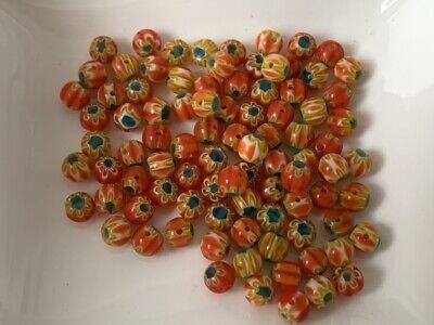 Glasperlen Perlen marmoriert 6 mm türkis 1 Strang circa 140 Stück Basteln 60