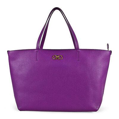 Ferragamo Brice Calfskin Leather Tote Handbag - Purple