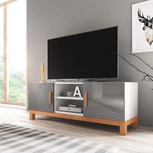 Details Sur Meuble Tv Meuble De Salon Lahti 140 Cm Gris Blanc Chene Sonoma Style Scandinave