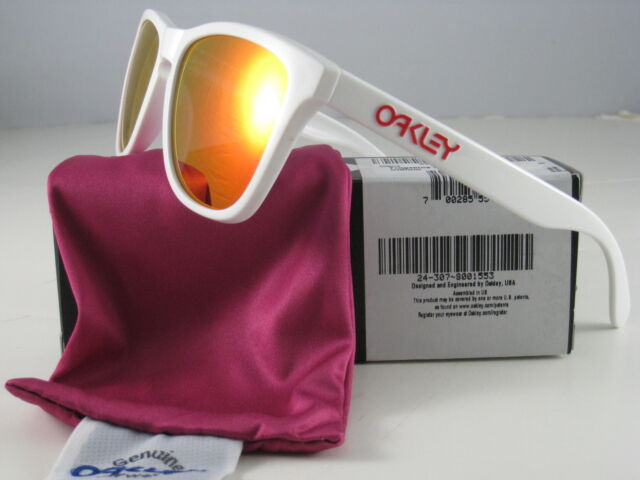 841f4d53104 Oakley Frogskins Sunglasses Oo9013 24-307 Polished White Frame Ruby Iridium  Lens