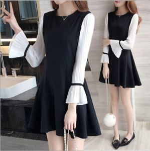 Korean Style Fashion Girls Dress Ladies Flare Sleeve Black A Line