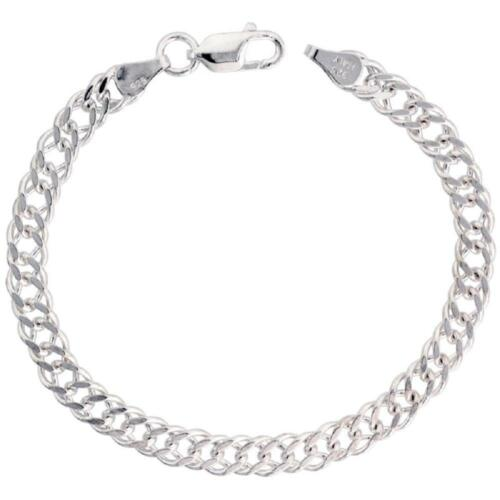 Sterling Silver Flat Double Curb Link Chain Necklace or Bracelet 3mm 6mm 4mm
