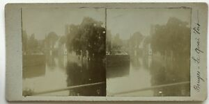 Belgium-Bruges-Wharf-Verde-Foto-Stereo-Vintage-Citrato