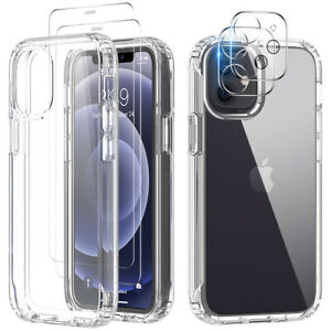 For iPhone 12/Pro/Max/11 Clear Case Cover+Camera Lens Protector+Tempered Glass