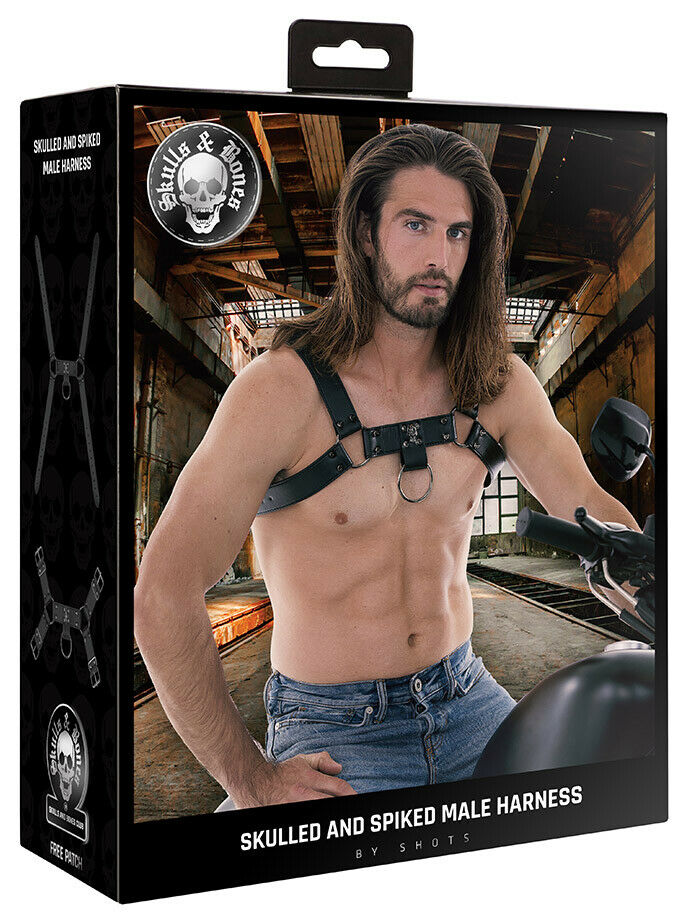Ouch! Skulls And Bones - Male Harness & Spikes Chest Genuine Leather