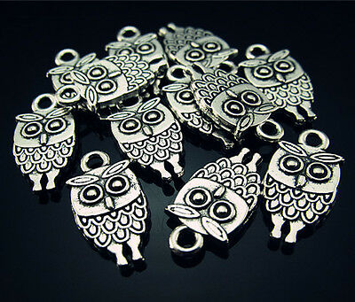 FREE Wholesale Lots Owl Tibetan silver Charms Tag Findings Pendant Beads 18mm