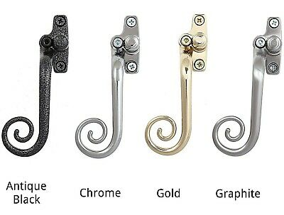 Espag Lock UPVC Double Glazing Window Handles Black Antique Curly Tail Locking.