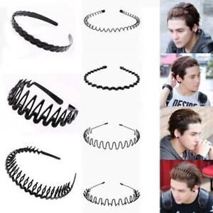 Men-039-s-Women-Black-Sports-Wave-Hair-Band-Black-Metal-Hairband-Headband-Headwear