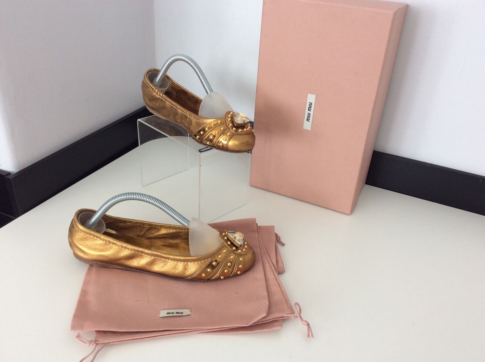 Miu miu Bronze Gold  Ballerina Schuhes Flats Größe 35 Uk 2.5 Boxed Dust Bags Vgc