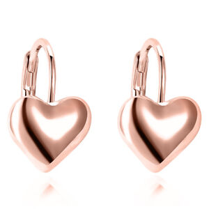 4aa9215afc658 Details about 14K Rose Gold Over Solid Womens Silver Heart Drop Earrings  Jewelry