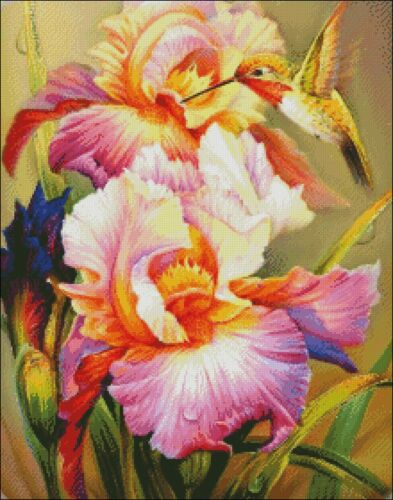 Iris and Hummingbird I Chart Counted Cross Stitch Patterns Needlework DIY DMC