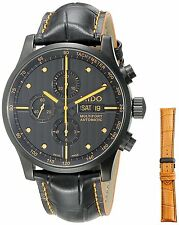 New Mido Multifort Automatic Chrono Black Dial Leather Mens Watch M0056143605122