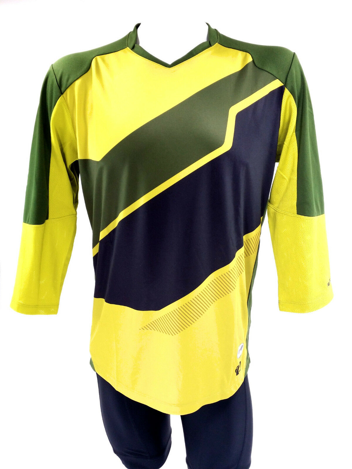 PEARL iZUMI Launch 3 4 Sleeve Jersey, Green Yellow, Medium