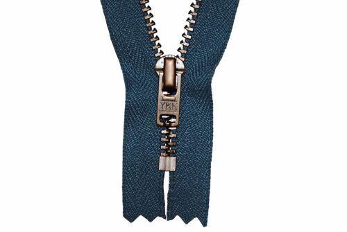 JEANS CERNIERA BLU 10cm per Pantaloni 4mm DENTI IN METALLO BRUNITO//ottone scuro