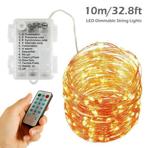 100-LED-guirlande-lumineuse-lumiere-noel-33ft-batterie-alimente-telecommande