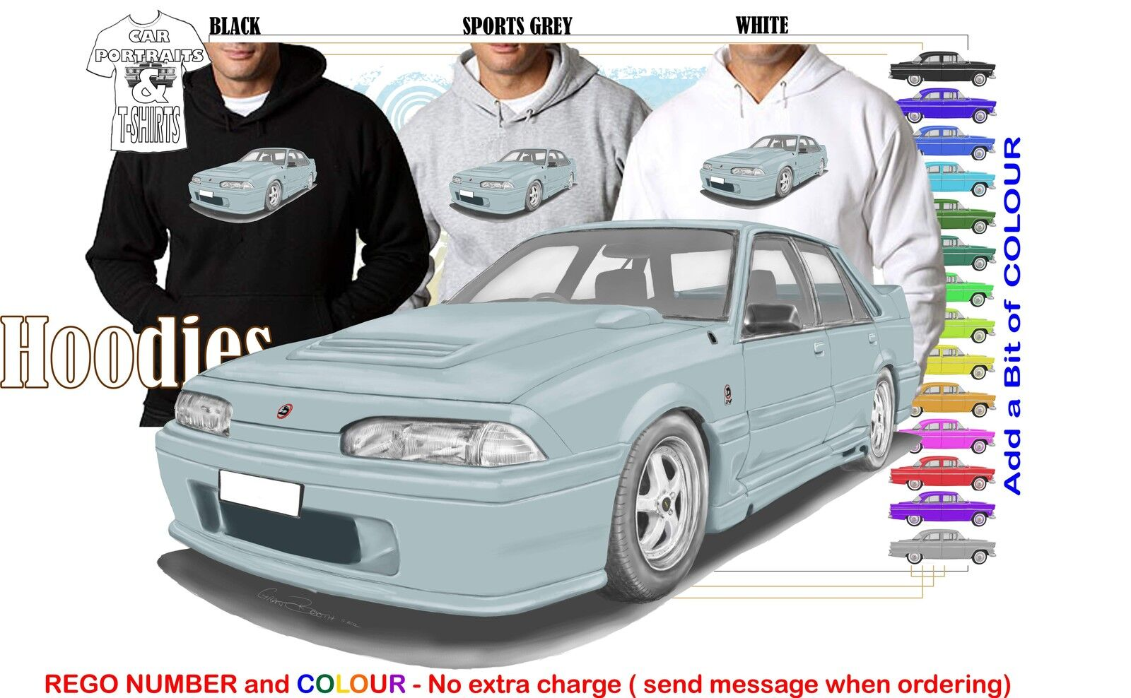 86-88 VL WALKINSHAW COMMODORE HOODIE ILLUSTRATED CLASSIC RETRO MUSCLE SPORTS CAR