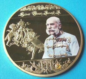 Medaille-Gigant-Kaiser-Franz-Josef-I-CU-vergoldet-mit-Farbdruck-110g-70-mm