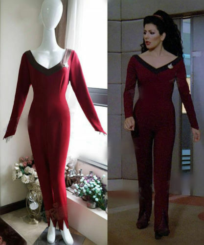 Star Trek The Next Generation Cosplay Deanna Troi Jumpsuit uniform Costume!co/'s