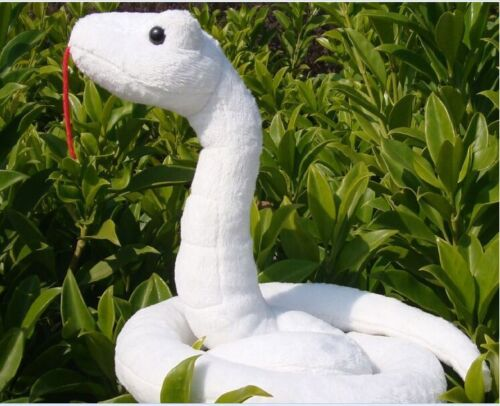 creative plush pet snake toy stuffed white snake toy gift toy about 20x18cm