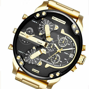 Men-039-s-Date-Gold-Stainless-Steel-Military-Quartz-Sport-Wrist-Watch-Popular-CUB