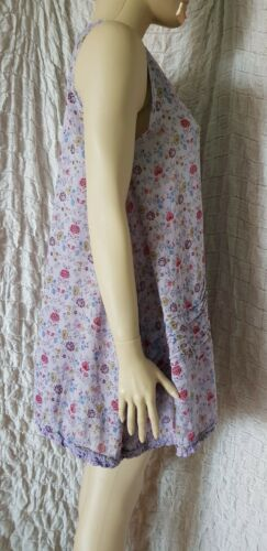 Ewa I Walla purple floral sleeveless natural material A line tunic size L