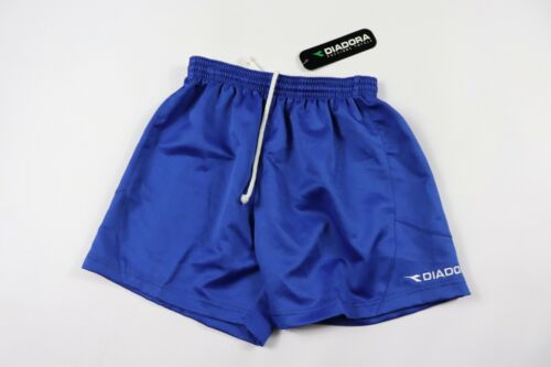 Vintage 90s New Diadora Youth Large Spell Out Polyester Gym Soccer Shorts Blue