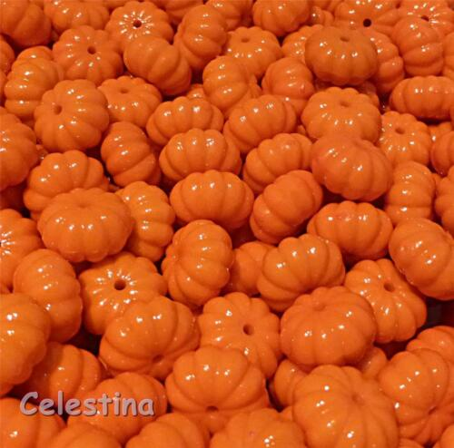15 mm x 9 mm 20 x Acrylique CITROUILLE PERLES-Bright Shiny Orange Halloween