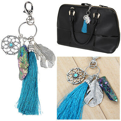 Boho Turquoise Dreamcatcher Keychain Keyring Pendant Bag Key Chain Ring Gift New