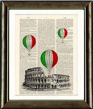 Antique Book page Art Print - The Colosseum and Air Balloons Rome Wall Art